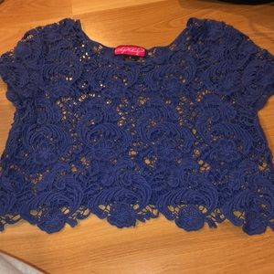 Blue crop top with Stitched Detail
